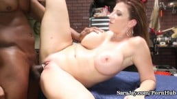 Sara Jay reverse cowgirls on mechanics burly cock
