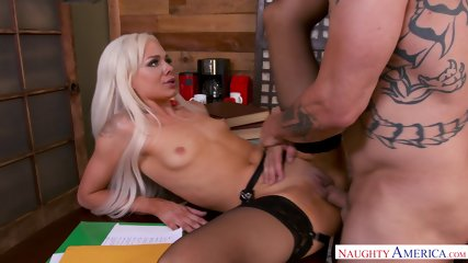 Teenie with small tits receives hammering in the office