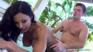 MILF wife gets blindfolded and fucked by the pool by hubby