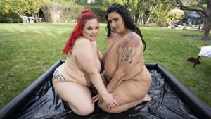 VrBangers action with BBW lesbians going down and dirty