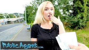 Public Agent pretty blonde stuffed with a cock doggy style in public